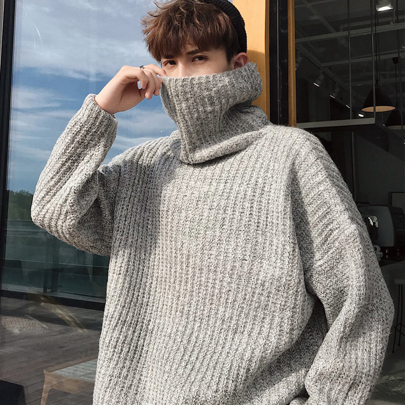 2020 Winter Hombre Warm Turtleneck Sweater Men Fashion Knitted Mens Sweaters Casual Slim Pullover Male Double Collar Tops 665LC