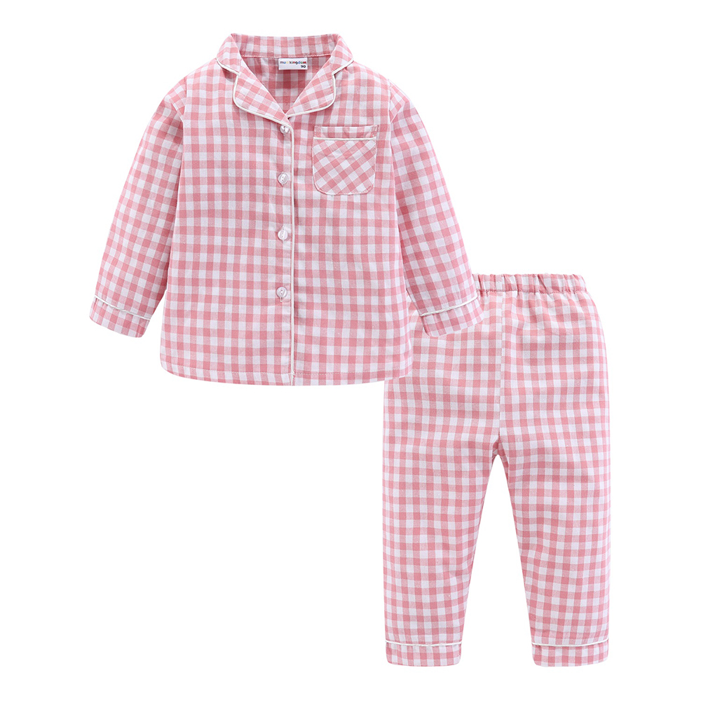 Mudkingdom Boys Girls Long Sleeve Pajamas Set Collared Plaid Autumn Cute Toddler Pajama Kids Sleepwear Children Clothes 2
