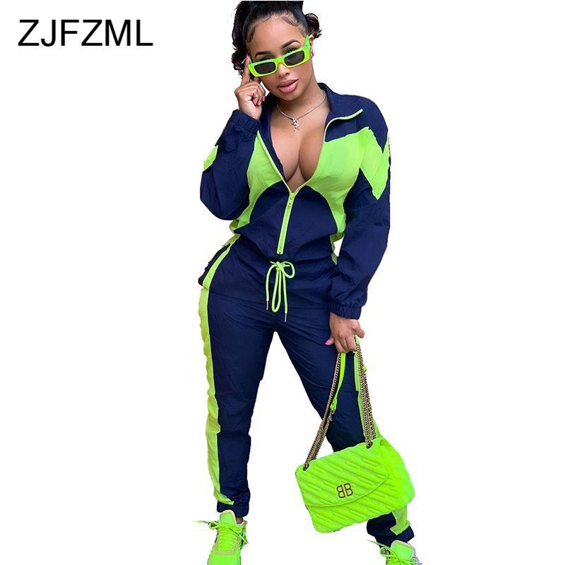 Neon Green Striped Sexy 2 Piece Set Sweat Suits Women Turn Down Collar Full Sleeve Zipper Up Coat + Causal Pants 2 Pcs Outfit