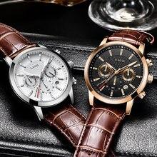 Часы наручные lige Мужские кварцевые с хронографом брендовые