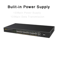 Gigabit POE Network Switch 24Ports 10/100M+2Ports 1000M Intelligent Network Management Switch for IP Camera 802.3af 802.3at