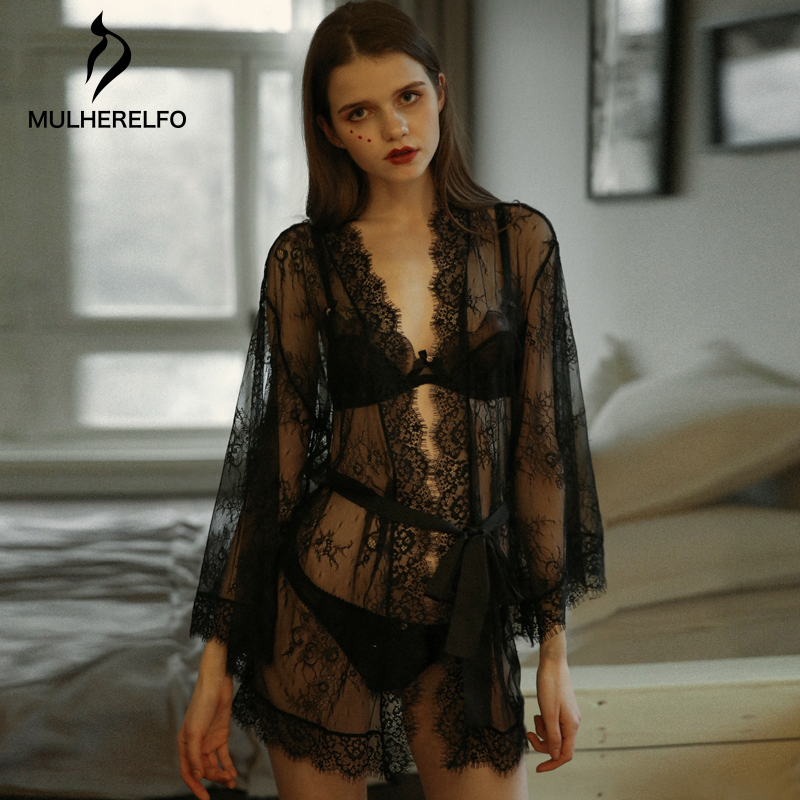 Bathrobe Women Lingerie Outer Wedding Robes Black Sexy Pyjamas Lace Dressing Gown See-through Tulle Perspective Kimono Robe