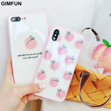 Gimfun for Iphone X Xs Xr Max Case with Glass Shell Soft Edge Fresh Pink Peach Painting Cover for IPhone 6s 6 7 8 Plus Fundas(China)