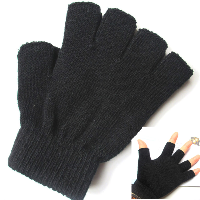 1Pair Women Men Fingerless Gloves Male Without Fingers Winter Gloves Handschoenen Winter Hand Warmer Knitted Balck Gloves Ladies