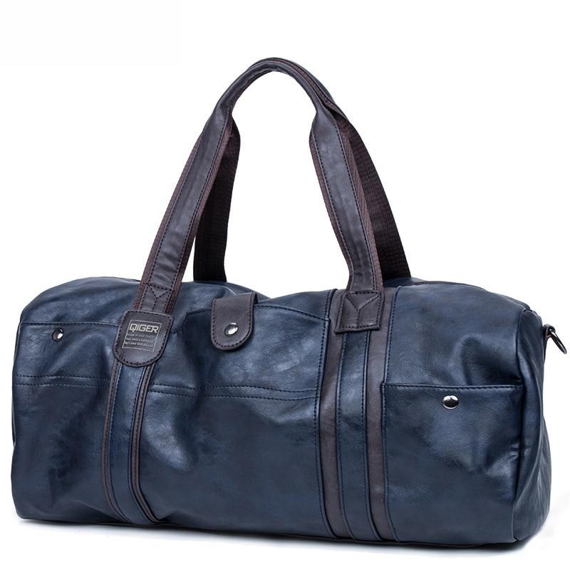 SIXRAYS Weekender масло воск кожаные сумки для мужчин путешествия вещевой мешок портативный сумки на плечо мужская мода сумка для переноски - Color: Blue