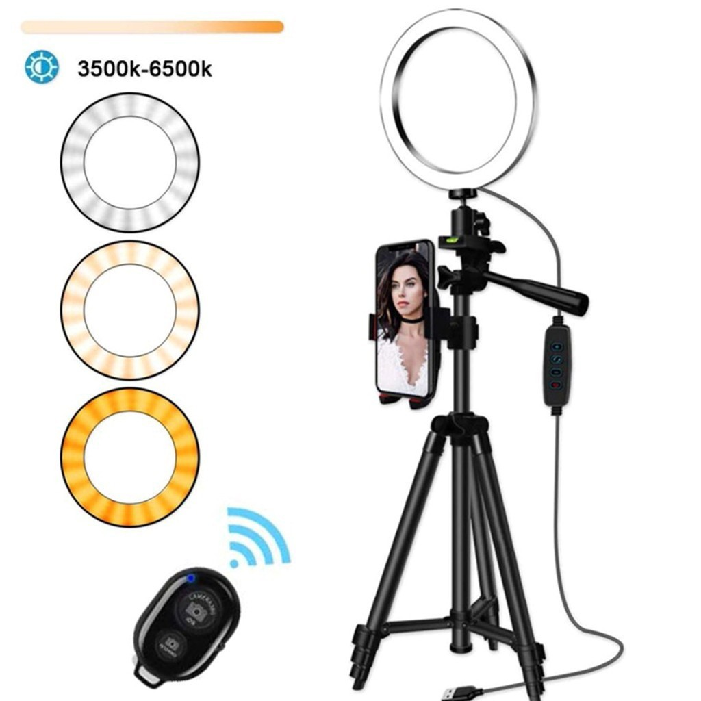 6 3IN LED SMD Ring Light Kit With Stand Dimmable 5500K For Camera Makeup Phone
