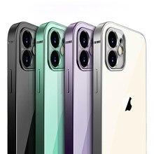 Funda clásica lujo marco cuadrado chapado para iPhone11Pro Max 12 xs xr max 7 8plus se 2020 fundas cubierta transparente suave
