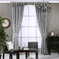 Hot selling Chenille Silver Jacquard Blackout Curtains for Living Room Hook Curtain for Bedroom Window Blind American Drape Curtains     -