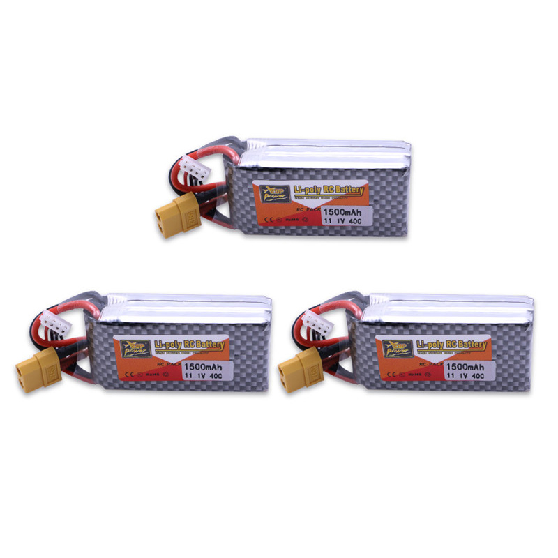 3pcs zop Original <font><b>LiPo</b></font> Battery 11.1V <font><b>1500Mah</b></font> <font><b>3S</b></font> 40C MAX <font><b>60C</b></font> XT60 Plug and cable RC Car Airplane trucks buggy boats Helicopters image