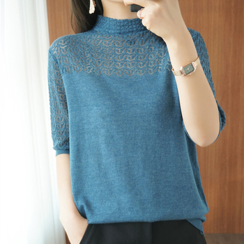 shintimes Turtleneck Knitted Tops Tee Shirt Femme Hollow Out Thin T Shirts Women 2020 Summer Casual Loose t-shirt Short Sleeve fashion hollow out solid cotton crochet short sleeve shirt women t shirt loose patchwork tee shirts