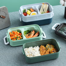 Lunch Student School Containers Box with Compartments Bento Box Japanese Style Leakproof Food Container for Kids with Tableware