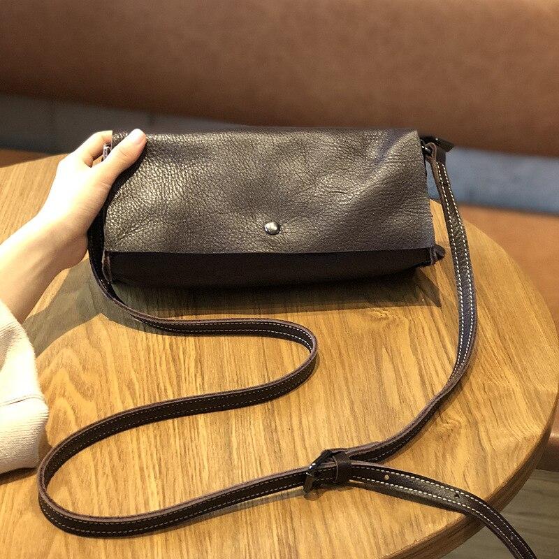 Купить бесплатная доставка кожаная простая сумка мессенджер однотонная
