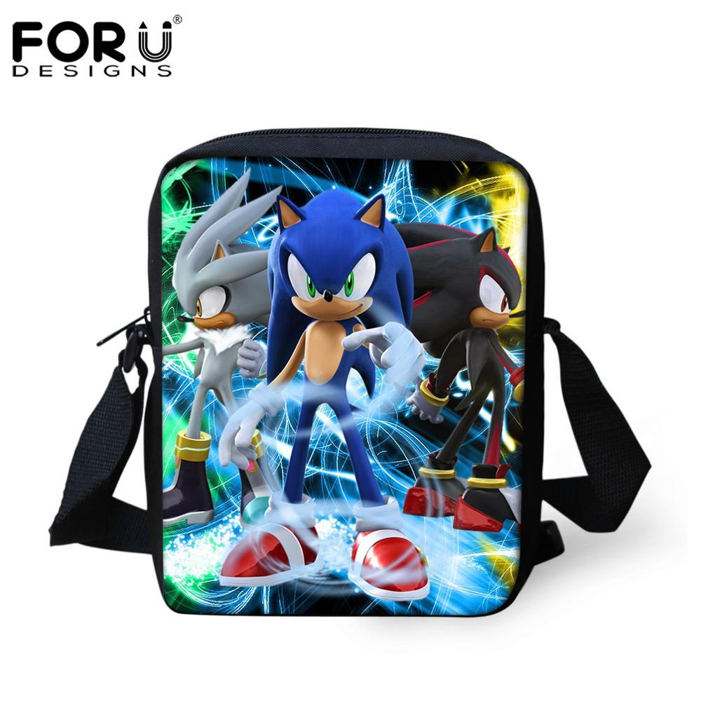 Forudesigns Mini Messenger Bag Sonic The Hedgehog Print Cartoon Boys Girls School Bag Children Bookbag Kids Best Gift Mochila Leather Bag