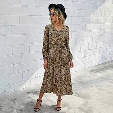 Женское платье на осень и зиму, повседневная одежда с цветочным принтом, леопардовым принтом, с длинным рукавом и рюшами, элегантные длинные...