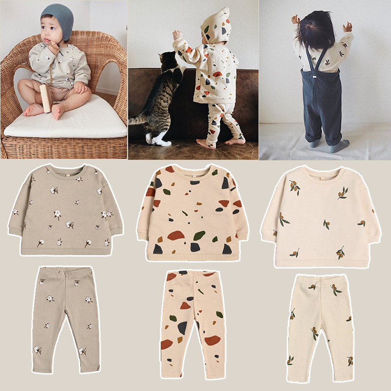 Newborn Sets Unisex Clothes Tops Sweatshirt and Pants Child Boys Casual Fashion Kids Long Sleeve Girl Boy Cotton Clothes Sets 3