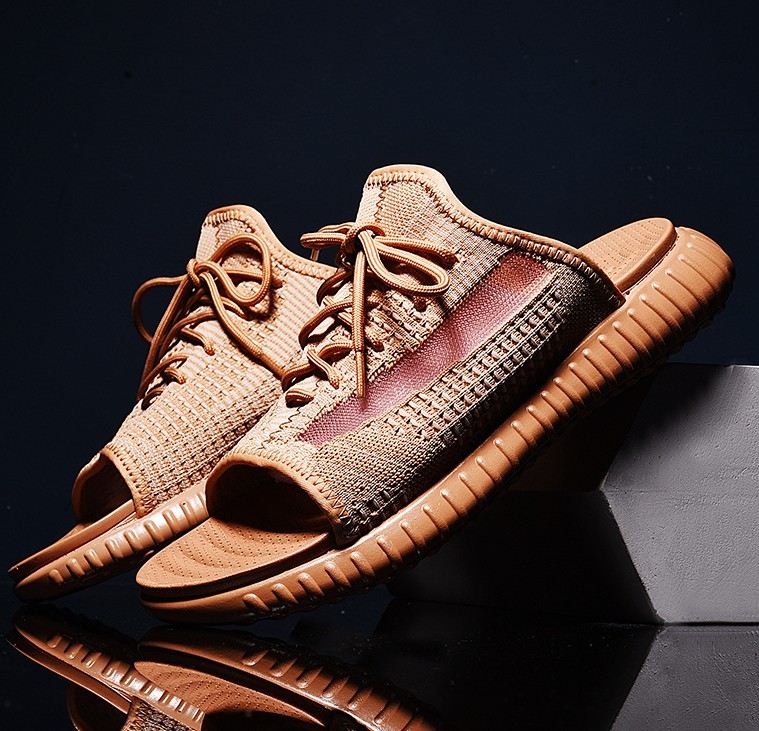 Kanye West Slides 350 V2  Style Slippers Male Summer Drag Slip-resistant Slide Sandals Summer Sandals Male Slippers Static