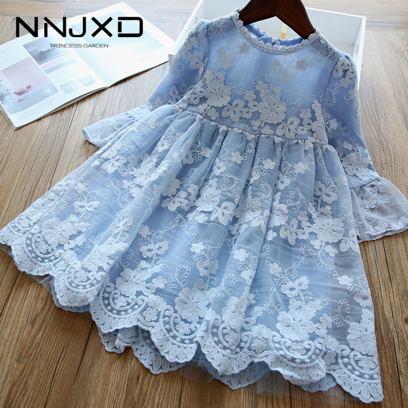 Elegant Flower Girls Dress Wedding Party Princess Dress Casual Kids Clothes Lace Long Sleeves Dress Children's Vestidos For 3-8T(China)