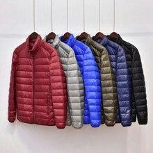 New Winter Down Coat Men Solid Slim Stand Collor Light Down