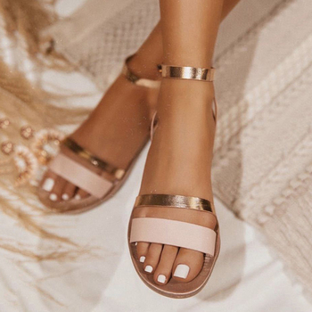 2020 Elegant Ladies Sandals Women Peep Toe Blings Shoes Female Ankle Strap Gladiator Flat Sandals Women's Summer Footwear women sandals flat beach sandals ankle strap cross strap peep toe summer slipper casual shoes breathable fisherman shoes
