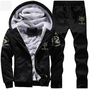 Image 2 - 겨울 따뜻한 tracksuit 남자 세트 캐주얼 자 켓 정장 남자 브랜드 의류 망 땀 양복 두 조각 지퍼 스웨터 dropshipping
