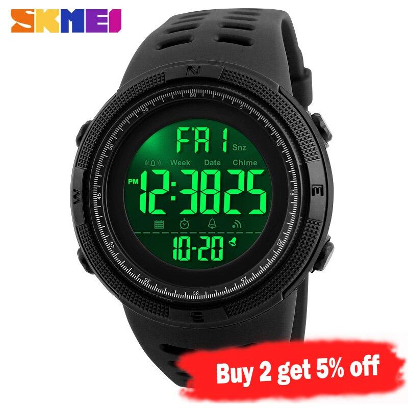 SKMEI Outdoor Sports Watches Men 50M Waterproof Double Time Countdown Watch Chrono Digital Alarm Wristwatches  Relogio Masculino