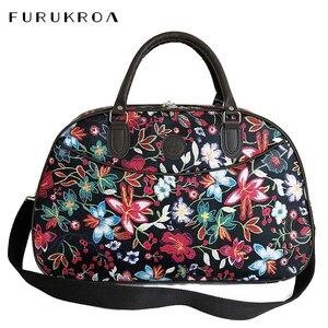 Image 1 - Bolso de viaje de cuero para mujer, bolsa de lona con diseño Floral, portátil, a la moda, impermeable, para fin de semana, XA790WB