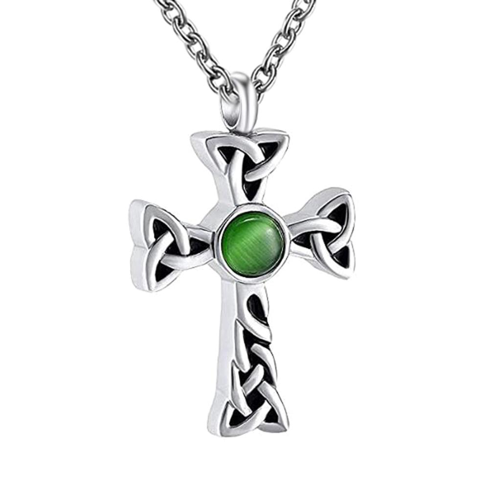 Classic Cross Memorial Locket with Crystal Stainless Steel Cremation Jewelry Urn Necklace for Ashes Keepsake Pendant