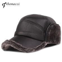 Фибоначчи новая классическая мужская зимняя шапка теплая защита ушей плюс бархат толстый среднего возраста и старше кожаная бейсболка
