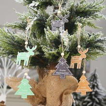 Xmas Party new year Merry DIY Christmas Wooden Reindeer Tree Pendants 2pcs for Home Decoration Hanging Ornaments