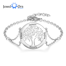 Personalized Tree of Life Bracelets with Engraving Name Stainless Steel Custom Family Tree Bracelets for Women New Year Gift