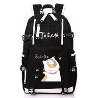 Natsume Friends Account Cat Backpack Schoolbag Black Canvas Travel Laptop Bags for Teens Girls Boys Knapsack Gift
