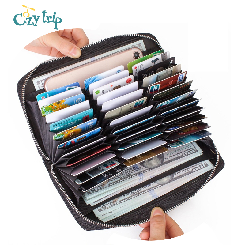 Genuine Leather Credit Card Wallet Huge Capacity Purse Rfid Blocking Secure 36 Card Slots Zipper Holder