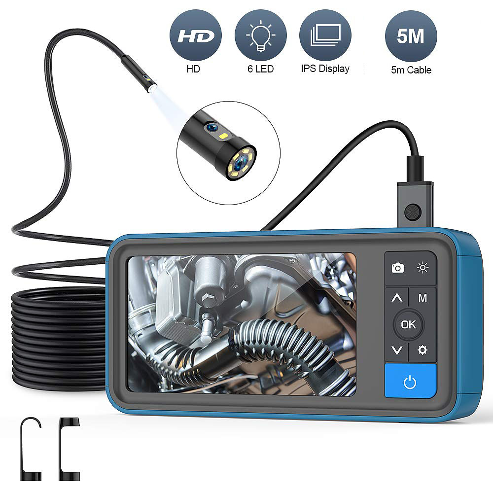"Dual Lens 1080P Industrial Endoscope 4.5"" Screen Waterproof  Snake Camera with 6 LED For Pipeline Drain Sewer Inspection Camera"