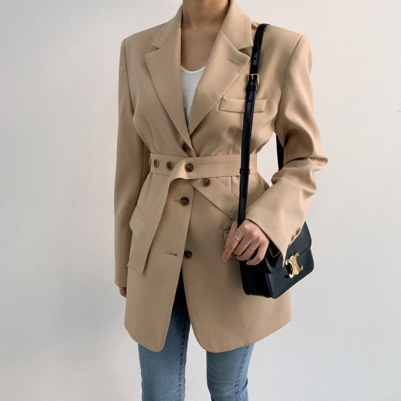 2020 New Spring Autumn Chic Solid Blazer Jacket With Belt Korean Women Long Sleeve Mid Long Suit Office Lady Coat Outwear