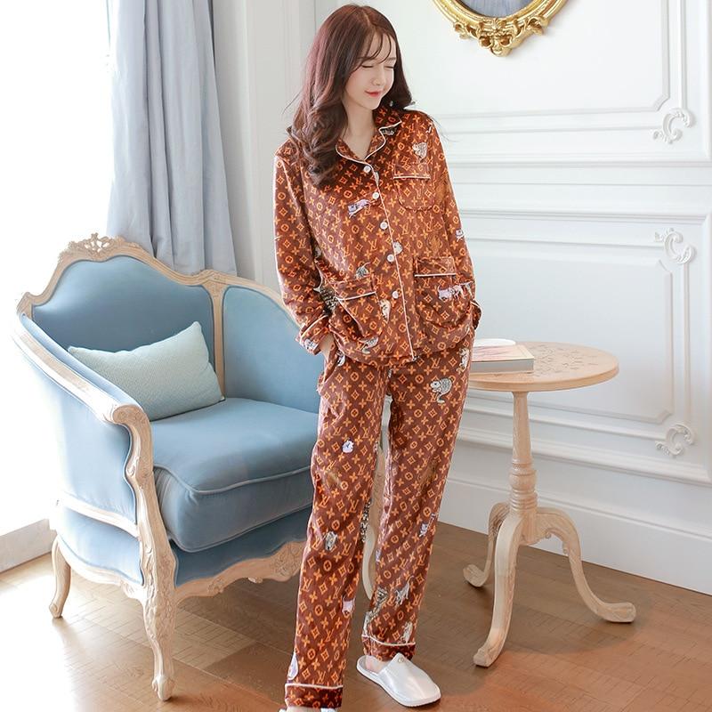 0117 # Diamond Lattice Cardigan Hxy High Quality Europe And America Gold Velvet Long Sleeve Pajamas Tracksuit Two-Piece Set