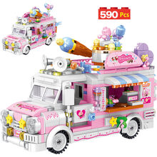 Blocs de construction pour enfants filles, Mini magasin de nourriture, voiture de glace, vue de rue, Camping, véhicule, amis, briques, jouets de bricolage pour enfants