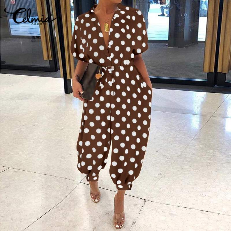 Oversized Rompers 2020 Celmia Women Vintage Jumpsutis Casual Polka Dot Print Summer Loose Short Sleeve Cargo Pants Plus Size 5XL