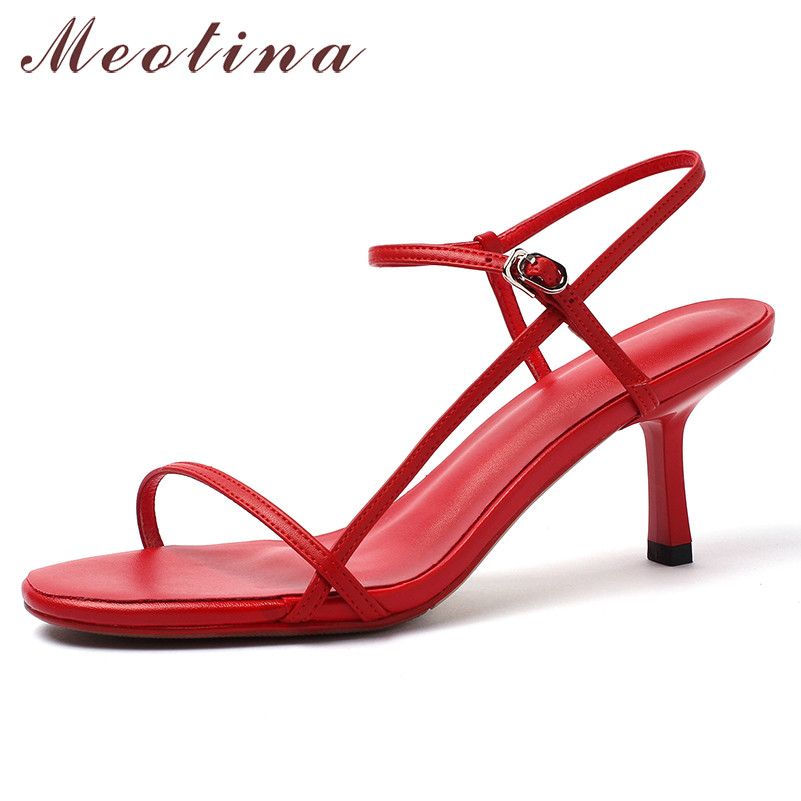 Meotina Summer Sandals Women Shoes Natural Genuine Leather Thin High Heels Party Shoes Real Leather Buckle Sandals Lady Size 43