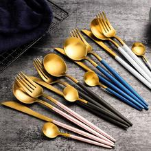 4Pcs/set Black Gold Cutlery Set Stainless Steel Dinnerware Silverware Flatware Set Dinner Knife Fork Spoon Dropshipping 24pcs matte stainless steel cutlery set dinnerware set black gold knife fork spoon silverware kitchen party dinner tableware set