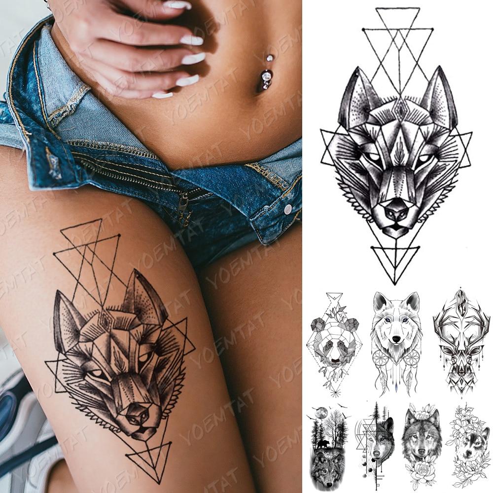 Waterproof Temporary Tattoo Sticker Line Geometry Fox Panda Wolf Tattoos Deer Flowers Body Art Arm Fake Sleeve Tatoo Women Men
