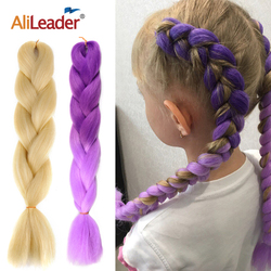 Alileader Jumbo Braid Hair Extension 100G Synthetic Hair For Braid Extensions Ombre color Jumbo Braids Hair For Kids
