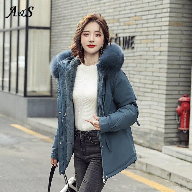 Фото женская зимняя теплая куртка anbenser модное облегающее пальто
