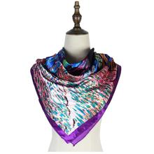 Painting silk scarf shawl satin 90cm square  hot selling head women mujer invierno