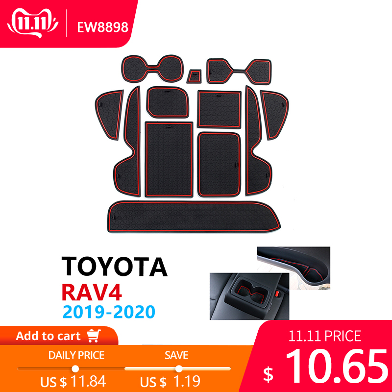 Anti-Slip Rubber Cup Cushion Door Groove Mat For Toyota RAV4 XA50 RAV 4 50 2019 2020 Accessories Car Stickers Mat For Phone