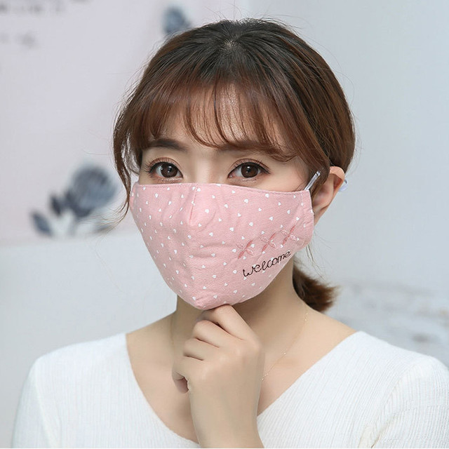 Women Printing Mask Spring Cotton Embroidery dot Dustproof Knot Bow Breathable Masks Fashion Pink Korean Mouth Face Mask #W3 2