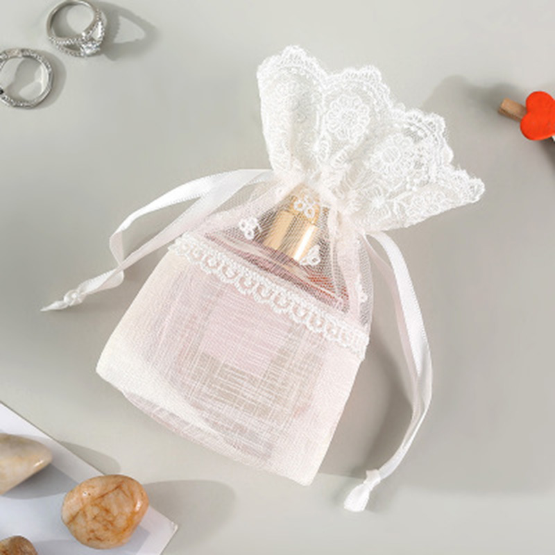 3 Pcs Lace Drawstring Gift Bag Pouches Multipurpose For Wedding Party Favor Jewelry Candy J9