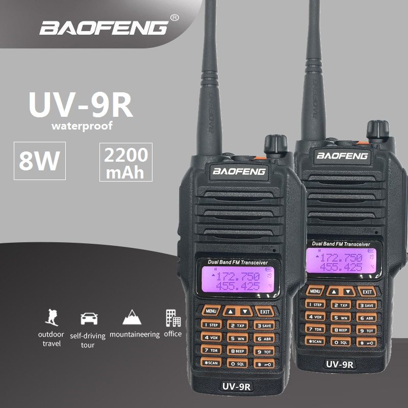 2PCS Baofeng UV-9R Walkie Talkie Pair Waterproof Ham CB Radio Station Dual Band UHF VHF HF Transceiver Radio Comunicador UV 9R