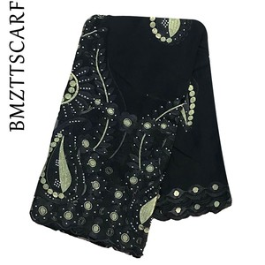 Image 5 - High Quality African Women Scarfs embroidery muslim women big cotton scarf for shawls BM947