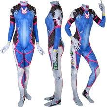 Game D.Va Suit Cosplay Costume Zentai Bodysuit Suit Jumpsuits Halloween