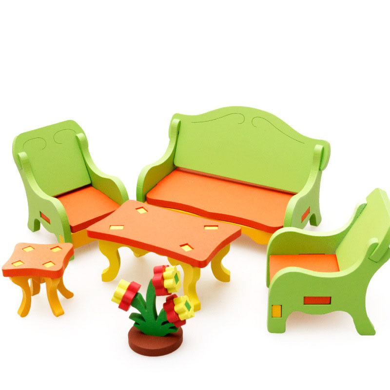Dollhouse Miniature Accessories Wooden Furniture Mini Dining Table Bedroom Rocking Chair Living Room Puzzles